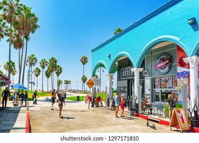 Los Angelos, California, USA - September 23, 2018: Famous Los Angeles Beach - Venice Beach with people.