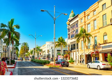 Los Angelos, California, USA - September 23, 2018: View of the fashionable street Rodeo Drive in Hollywood, LA.