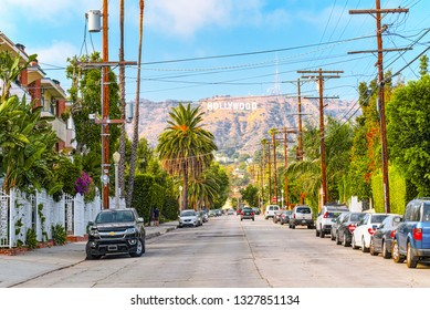Los Angelos, California, USA - September 05, 2018: Urban views of the Beverly Hills area and residential buildings on the Hollywood hills.