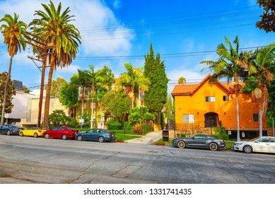 Los Angelos, California, USA - September 04, 2018: Urban views of the Beverly Hills area and residential buildings on the Hollywood hills.