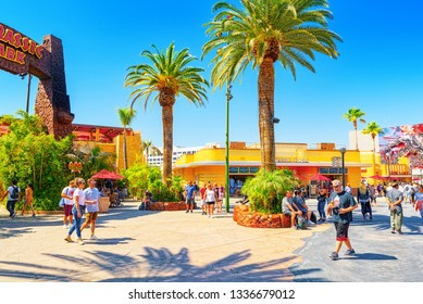 Los Angelos, California, USA - September 07, 2018: World famous park Universal Studios in Hollywood. Amusement scene Jurassic Park, Mummy, Transformers.