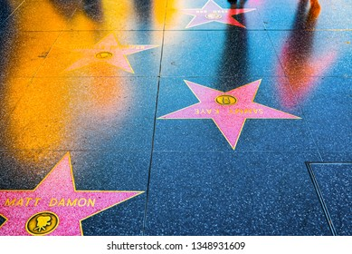 Los Angelos, California, USA - September 05, 2018: Hollywood Walk of Fame in Hollywood Boulevard. Matt Damon, Michelle Pfeiffer.