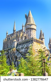 Los Angelos, California, USA - September 07, 2018: World famous park Universal Studios in Hollywood.Hogwarts Castle from the Harry Potter movie.