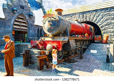 Los Angelos, California, USA - September 07, 2018: World famous park Universal Studios in Hollywood. Hogwarts Express steam train.