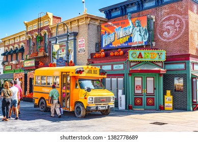 Los Angelos, California, USA - September 07, 2018: World famous park Universal Studios in Hollywood. Central walking streets of the park.