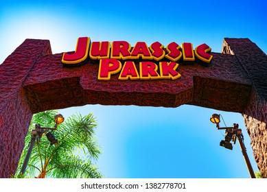 Los Angelos, California, USA - September 07, 2018: World famous park Universal Studios in Hollywood. Amusement scene Jurassic Park, Mummy, Transformers.