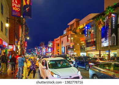 Los Angelos, California, USA - September 06, 2018: Famous Hollywood Boulevard and the Avenue of Stars in Hollywood.