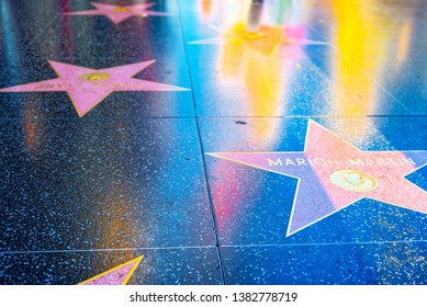 Los Angelos, California, USA - September 05, 2018: Hollywood Walk of Fame in Hollywood Boulevard. Marion Martin.