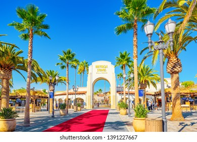 Los Angelos, California, USA - September 07, 2018: World famous park Universal Studios in Hollywood. The main entrance to the park.