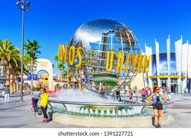Los Angelos, California, USA - September 07, 2018: World famous park Universal Studios in Hollywood. Ball with the inscription at the entrance to the park.