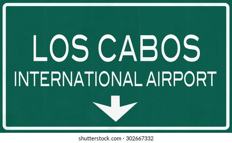 Los Cabos Mexico International Airport Highway Sign 2D Illustration