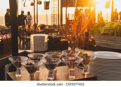 Los Cabos, Mexico - Oct 2019 A rehearsal dinner is a pre-wedding ceremony in the United States tradition, usually held after the wedding rehearsal and the night before the wedding ceremony