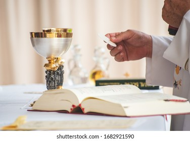 Los Cabos, Mexico - Sep 2019 Mass is the central act of worship of the Roman Catholic Church, which culminates in celebration of the sacrament of the Eucharist