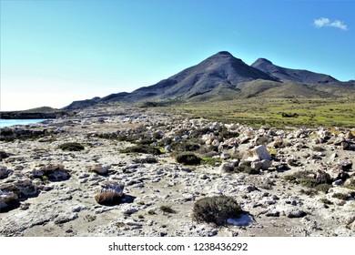Los Frailes volcanic caldera, The volcanic desert of Cabo de Gata with a mantle of green grass due to the autumn rains, Almería, Andalusia, spain,