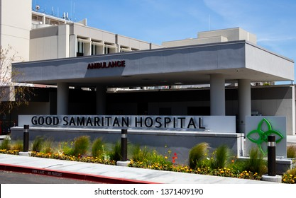 LOS GATOS, CA, USA - April 14, 2019 -Exterior of Good Samaritan Hospital showing the sign, entrance, emergency walk up during hospital remodel and construction.