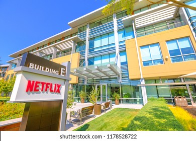 Los Gatos, California, United States - August 12, 2018: The new campus of Netflix HQ made of self-darkening intelligent glass for optimal lighting in Silicon Valley.