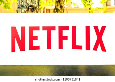 Los Gatos, California, United States - August 12, 2018: Netflix Logo isolated from the sign of headquarters building in Silicon Valley. Netflix entertainment service provider for movies and tv series