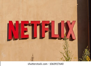 Los Gatos, California, USA - March 29, 2018: Sign of Netflix in Los Gatos, CA. Netflix is an American entertainment company.