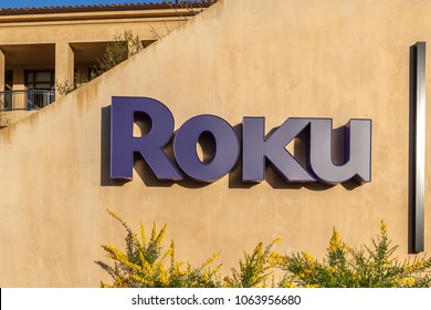 Los Gatos, California, USA - March 29, 2018: Sign of Roku in Los Gatos, CA. Roku is a series of streaming players manufactured by Roku, Inc.