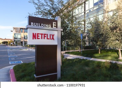 Los Gatos, California, USA - March 29, 2018: Netflix sign at headquarters in Los Gatos, CA. Netflix is an American entertainment company.
