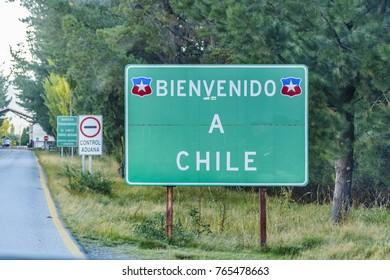 LOS LAGOS, CHILE, APRIL - 2017 - Highway signpost night scene at patagonia territory, Chile