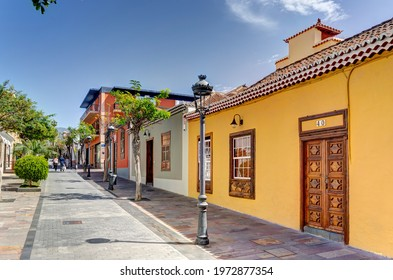 Los Llanos de Aridane, Spain - April 2021 : Historical center in sunny weather, HDR Image