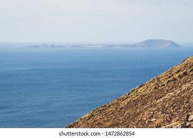 Los Lobos island from the Montana Roja in Lanzarote - Canarian islands