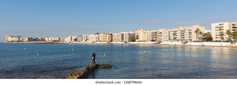 Los Locos Torrevieja Spain panoramic view across bay to beach and seafront