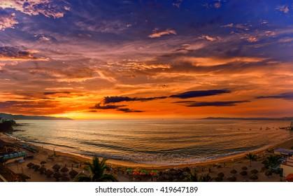 Los Muertos beach, one of the most popular beaches in Puerto Vallarta, Mexico.