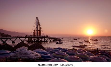 Los Muertos Pier at sunset - Puerto Vallarta, Jalisco, Mexico