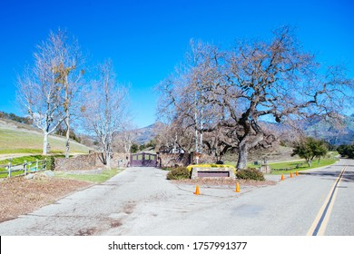 Los Olivos, USA - February 9 2013: The front entrance of Neverland Valley Ranch which was once the home of pop icon Michael Jackson