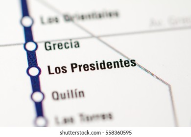 Los Presidentes Station. Santiago Metro map.