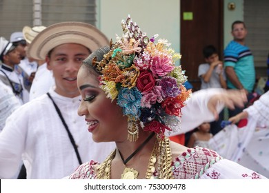 LOS SANTOS-PANAMA, 2017: In Panama, handmade polleras are worn during festivals or celebrations.