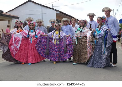 LOS SANTOS-PANAMA-NOV 10, 2018: Young Woman wearing traditional dress during Independance day celebration in Panama.