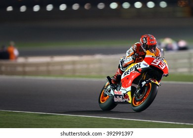 LOSAIL - QATAR, MARCH 18: Spanish Honda rider Marc Marquez at 2016 Commercial Bank of Qatar MotoGP at Losail circuit on March 18, 2016
