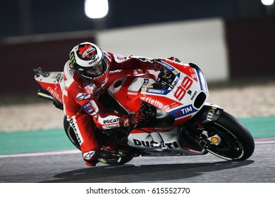 LOSAIL - QATAR, MARCH 23: Spanish Ducati rider Jorge Lorenzo at 2017 MotoGP of Qatar at Losail International Circuit on March 23, 2017