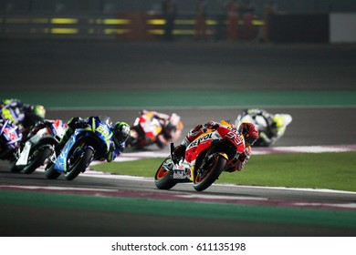 LOSAIL - QATAR, MARCH 26: Spanish Honda rider Marc Marquez at 2017 MotoGP of Qatar at Losail International Circuit on March 26, 2017