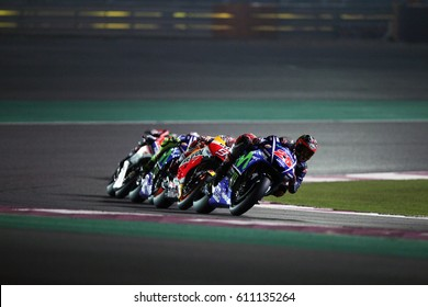 LOSAIL - QATAR, MARCH 26: Spanish Yamaha rider Maverick Vinales wins at 2017 MotoGP of Qatar at Losail International Circuit on March 26, 2017