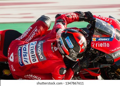 LOSAIL, QATAR - MARCH 8, 2019: Italian Ducati rider Danilo Petrucci at VisitQatar MotoGP of Qatar on Losail circuit near Doha