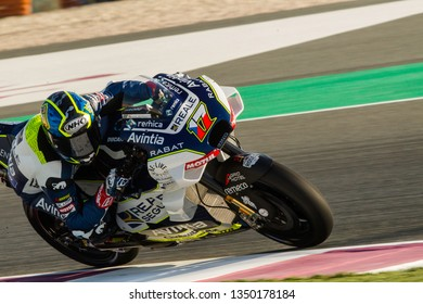LOSAIL, QATAR - MARCH 8, 2019: Czech Ducati rider Karel Abraham at VisitQatar MotoGP of Qatar on Losail circuit near Doha
