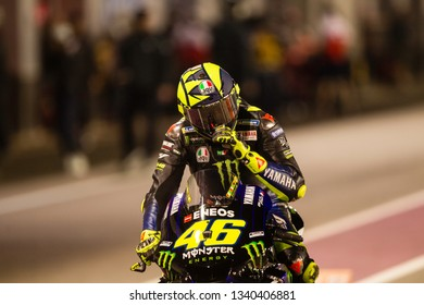LOSAIL, QATAR - MARCH 9, 2019: Italian Yamaha rider Valentino Rossi at VisitQatar MotoGP of Qatar on Losail circuit near Doha