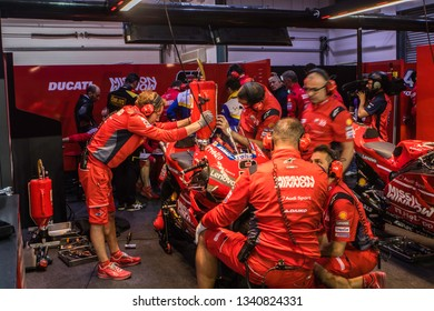 LOSAIL, QATAR - MARCH 9, 2019: Ducati bike from Danilo Petrucci in the pitbox at VisitQatar MotoGP of Qatar on Losail circuit near Doha