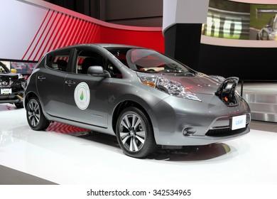 Los-Angeles, USA - Nov 19, 2015: Nissan Leaf electric at the LA Auto Show on Nov 19, 2015 in LA, California
