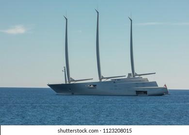 """LOSARI BEACH, CORSICA - 29TH JUNE 2018. The world's most expensive private yacht """"A"""" moored at Losari beach in the Balagne region of Corsica."""