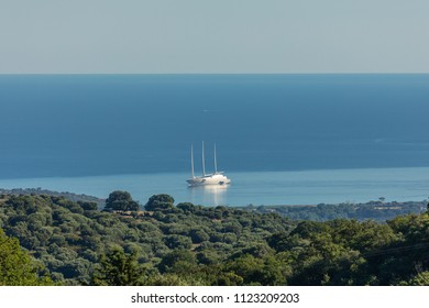 """LOSARI BEACH, CORSICA - 29TH JUNE 2018. The world's most expensive private yacht """"A"""" moored at Losari beach in the Balagne region of Corsica"""