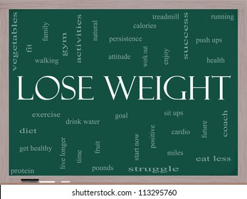 Lose Weight Word Cloud Concept on a Blackboard with great terms such as diet, exercise, protein, goal and more.