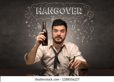 Loser drunk man with drinking, drug, hangover, alcoholic drugs concept