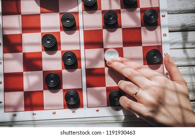 Loss of checkers. The situation is deadlocked concept. Zugzwang. The man chose the wrong tactics.