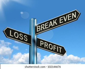 Loss Profit Or Break Even Signpost Shows Investment Earnings And Profits. Road Sign Directions Show Risk About Revenue Or Trading Stocks.