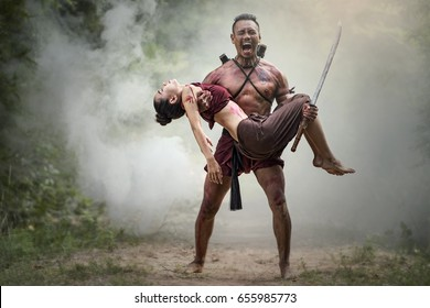 Loss sweetheart on the battlefield, Traditional warrior in Thailand
